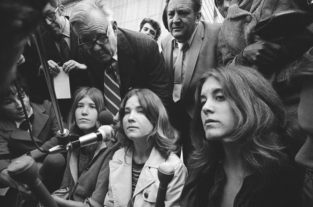 . Sandra Good, center, a follower of Charles Manson and roommate of Lynette Alice Fromme is shown during a press conference in 1971. Others are unidentified. (AP Photo)