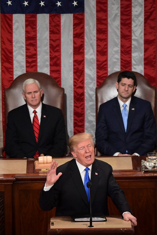 . President Donald Trump delivers his State of the Union address to a joint session of Congress on Capitol Hill in Washington, Tuesday, Jan. 30, 2018. (AP Photo/Susan Walsh)