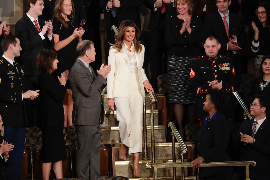 . First lady Melania Trump arrives before the State of the Union address to a joint session of Congress on Capitol Hill in Washington, Tuesday, Jan. 30, 2018. (AP Photo/J. Scott Applewhite)