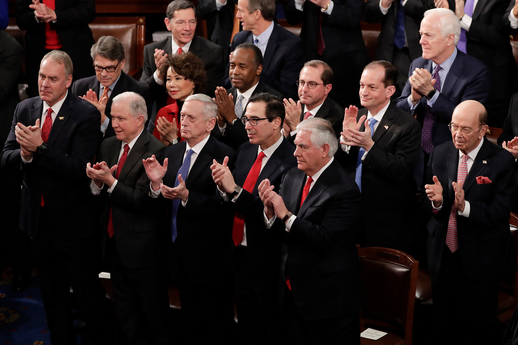. Member of the Cabinet applaud during President Donald Trump\'s State of the Union address to a joint session of Congress on Capitol Hill in Washington, Tuesday, Jan. 30, 2018. (AP Photo/J. Scott Applewhite)