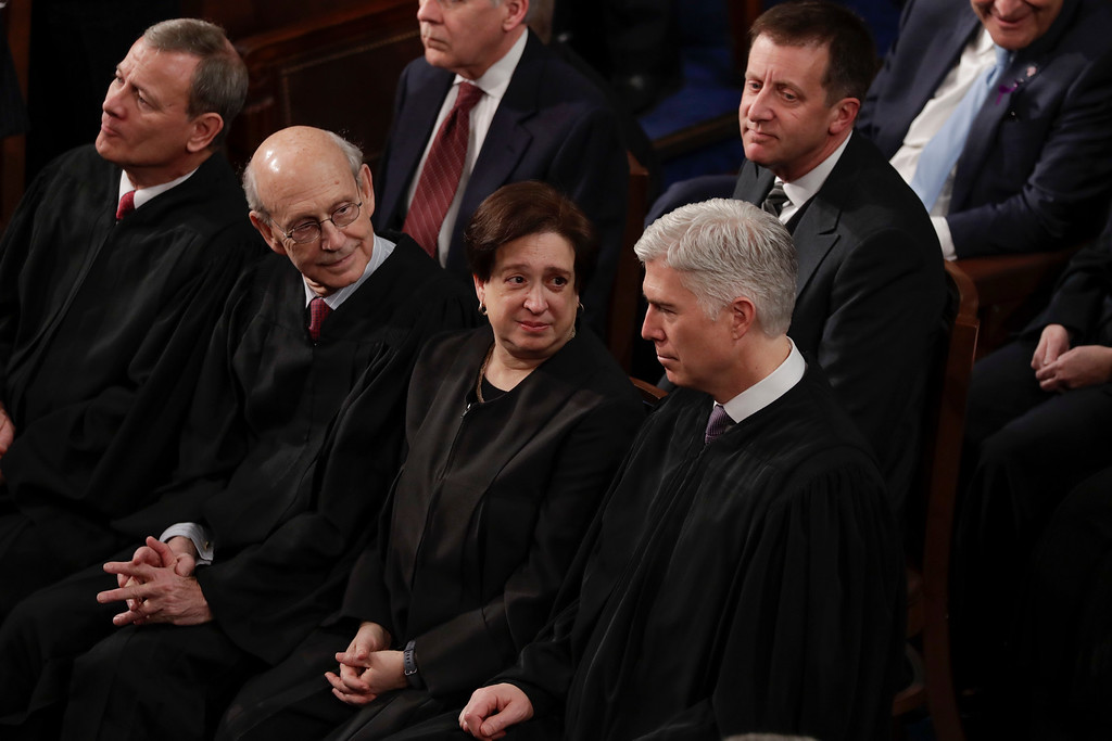 . U.S. Supreme Court Chief Justice John G. Roberts, U.S. Supreme Court Associate Justice Stephen G. Breyer, U.S. Supreme Court Associate Justice Elena Kagan, U.S. Supreme Court Associate Justice Neil M. Gorsuch listen to President Donald Trump\'s State of the Union address to a joint session of Congress on Capitol Hill in Washington, Tuesday, Jan. 30, 2018. (AP Photo/J. Scott Applewhite)