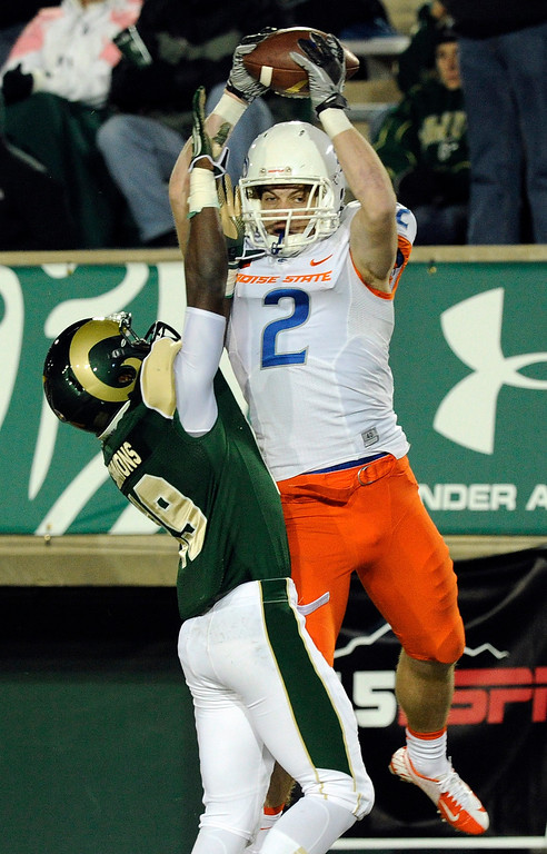 . FORT COLLINS, CO. - NOVEMBER 2: Boise State wide receiver Matt Miller (2) beat CSU defensive back Tyree Simmons (19) for a touchdown in the third quarter. The Colorado State University football team hosted Boise State Saturday night, November 2, 2013. Photo By Karl Gehring/The Denver Post