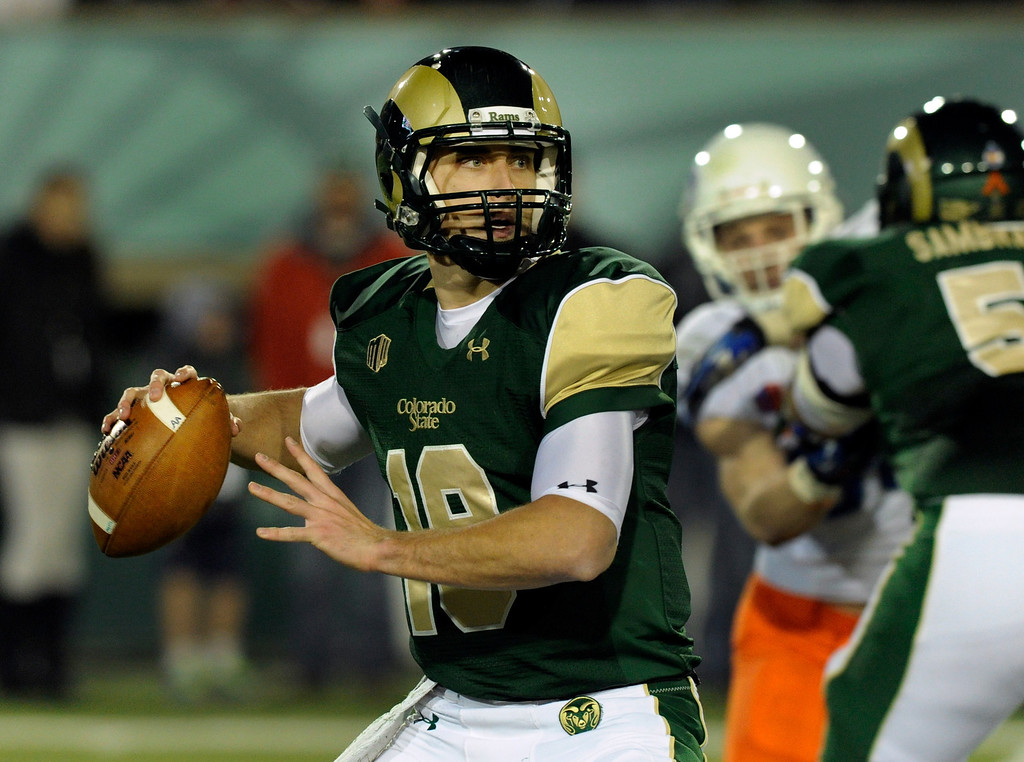 . FORT COLLINS, CO. - NOVEMBER 2: CSU quarterback Garrett Grayson looked downfield for a target in the second half. The Colorado State University football team fell to Boise State 42-30 Saturday night, November 2, 2013. Photo By Karl Gehring/The Denver Post