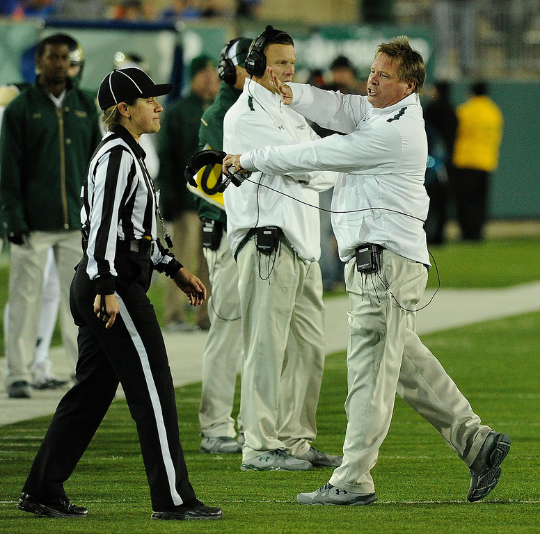 . FORT COLLINS, CO. - NOVEMBER 2: CSU coach Jim McElwain complained about a call late in the game. The Colorado State University football team fell to Boise State 42-30 Saturday night, November 2, 2013. Photo By Karl Gehring/The Denver Post