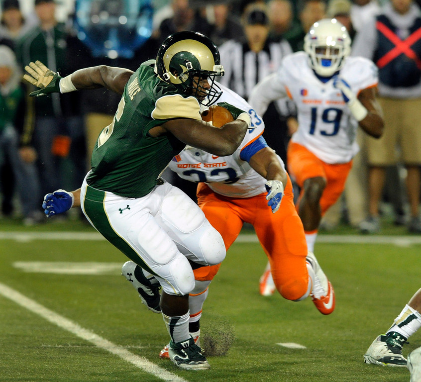 . FORT COLLINS, CO. - NOVEMBER 2: CSU running back Chris Nwoke (6) got the call in the third quarter. The Colorado State University football team fell to Boise State 42-30 Saturday night, November 2, 2013. Photo By Karl Gehring/The Denver Post