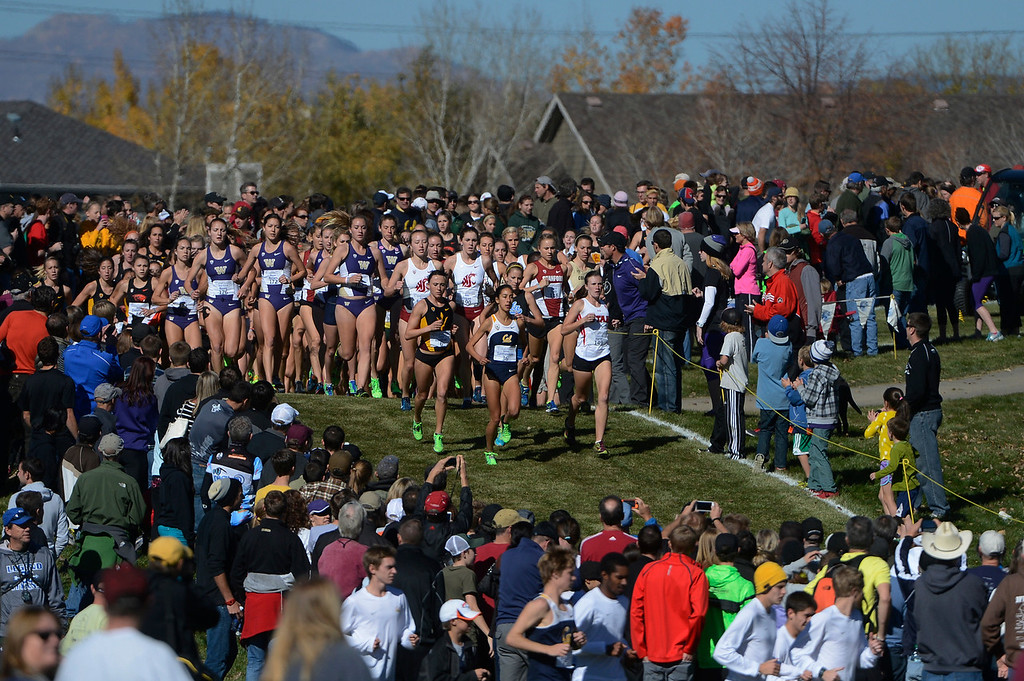 . LOUISVILLE, CO - NOVEMBER 02: The women take the course during the Pac 12 Cross Country Championships at the Coal Creek Golf Course Saturday morning, November 02, 2013. (Photo By Andy Cross/The Denver Post)