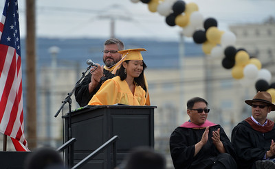 Class salutatorian Jacqueline Guo finishes her speech at Alameda High School's Class of 2016 Commencement Ceremony at Thompson Field in Alameda, Calif., on Friday, June 17, 2016. (Dan Honda/Bay Area News Group)