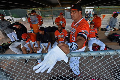 Pittsburg Diamonds designated hitter Jose Canseco (33) stands in the dugout with his teammates before playing against the Sonoma Stompers at Winter Chevrolet Stadium in Pittsburg, Calif., on Thursday, Aug. 4, 2016. (Jose Carlos Fajardo/Bay Area News Group)