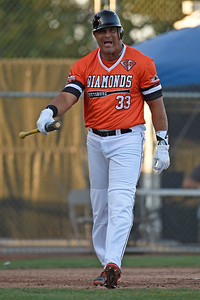 Pittsburg Diamonds designated hitter Jose Canseco (33) reacts after striking out against the Sonoma Stompers in the first inning of their game at Winter Chevrolet Stadium in Pittsburg, Calif., on Thursday, Aug. 4, 2016. (Jose Carlos Fajardo/Bay Area News Group)