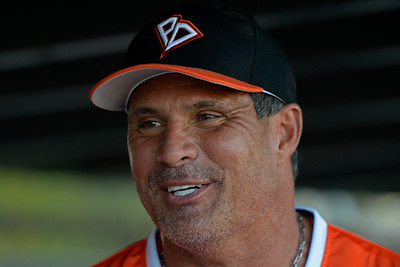 Pittsburg Diamonds designated hitter Jose Canseco (33) speaks to teammates in the dugout before playing against the Sonoma Stompers at Winter Chevrolet Stadium in Pittsburg, Calif., on Thursday, Aug. 4, 2016. (Jose Carlos Fajardo/Bay Area News Group)