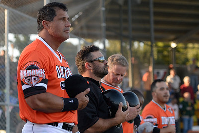 Pittsburg Diamonds designated hitter Jose Canseco (33) stands with his team during the singing of the national anthem before playing against the Sonoma Stompers at Winter Chevrolet Stadium in Pittsburg, Calif., on Thursday, Aug. 4, 2016. (Jose Carlos Fajardo/Bay Area News Group)