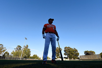 Pittsburg Diamonds designated hitter Jose Canseco (33) warms up before playing against the Sonoma Stompers at Winter Chevrolet Stadium in Pittsburg, Calif., on Thursday, Aug. 4, 2016. (Jose Carlos Fajardo/Bay Area News Group)