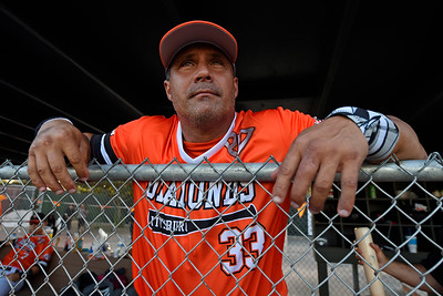 Pittsburg Diamonds designated hitter Jose Canseco (33) looks out towards the field from the dugout before playing against the Sonoma Stompers at Winter Chevrolet Stadium in Pittsburg, Calif., on Thursday, Aug. 4, 2016. (Jose Carlos Fajardo/Bay Area News Group)