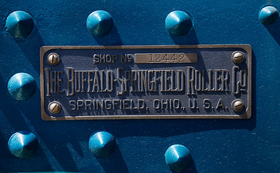 A plaque identifies a 1924 Buffalo Springfield steamroller on display at the Pacific Coast Dream Machines Show, Sunday morning, April 24, 2016, at the Half Moon Bay Airport in Moss Beach, Calif. Owned by the Roots of Motive Power organization, the steamroller came from Willits, Calif., presumably on a flat bed truck, to join the 26th annual show. (Karl Mondon/Bay Area News Group)