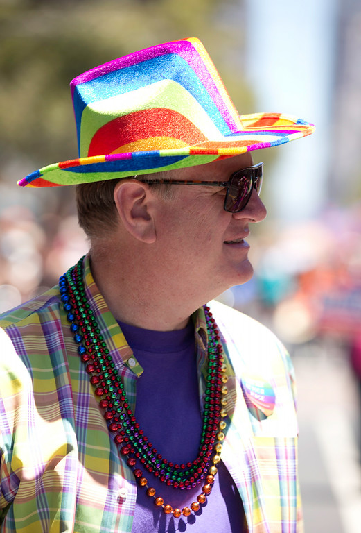 . Milo Hanke of San Francisco has the rainbow motif working on several levels at the 44th annual San Francisco Pride Parade, Sunday, June 29, 2014 on Market Street in San Francisco. (D. Ross Cameron/Bay Area News Group)