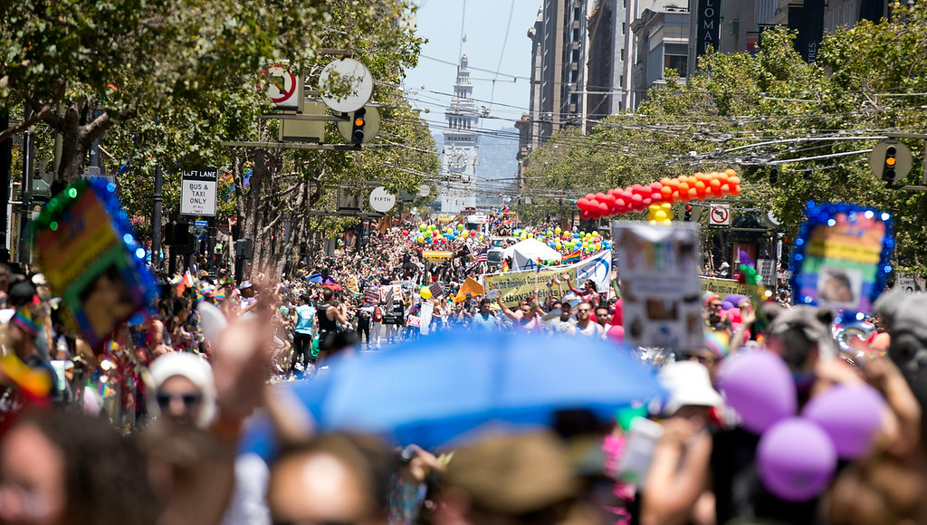 . Hundreds of thousands of participants and spectators crowded along Market Street for the 44th annual San Francisco Pride Parade, Sunday, June 29, 2014 in San Francisco. (D. Ross Cameron/Bay Area News Group)
