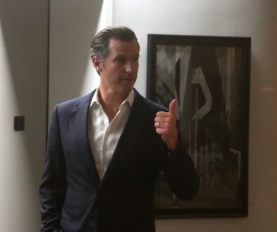 . Lt. Gov. Gavin Newsom is photographed inside the Joseph P. Bort MetroCenter during negotiations between BART management and union members on Monday, Oct. 21, 2013, in Oakland, Calif.  (Aric Crabb/Bay Area News Group)