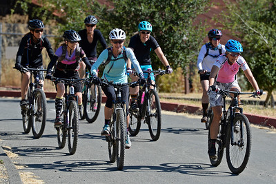 A group of women bicyclist leave the parking lot as they prepare to take on the trails at Crockett Hills Regional Park in Crockett, Calif., on Saturday, July 2, 2016. The group is riding with the Bicycle Trails Council of the East Bay. (Jose Carlos Fajardo/Bay Area News Group)