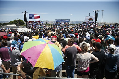 Democratic presidential candidate Bernie Sanders speaks to a crowd of supporters at the Santa Clara County Fairgrounds Wednesday afternoon, May 18, 2016, in San Jose, Calif. (Karl Mondon/Bay Area News Group)