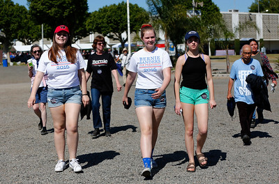 Bernie Sanders supporters walk into the venue at Santa Clara County Fairgrounds for a rally by the Democratic presidential candidate in San Jose, Calif., on Wednesday, May 18, 2016. (Gary Reyes/Bay Area News Group)