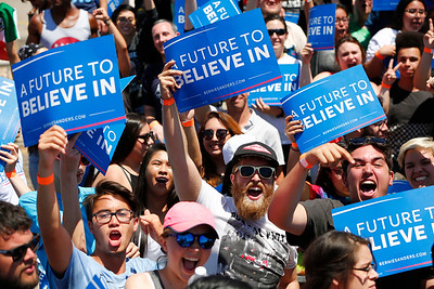 Supporters cheer Bernie Sanders, Democratic presidential candidate, during a rally at the Santa Clara County Fairgrounds in San Jose, Calif., on Wednesday, May 18, 2016. (Gary Reyes/Bay Area News Group)