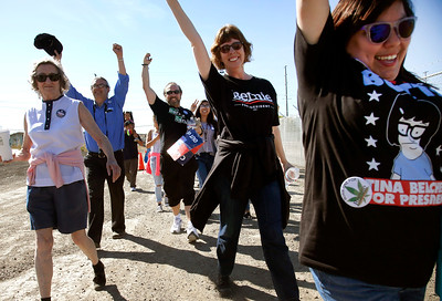 Bernie Sanders supporters enter the Santa Clara County Fairgrounds for a rally by the  Democratic presidential candidate Wednesday morning, May 18, 2016, in San Jose, Calif. (Karl Mondon/Bay Area News Group)