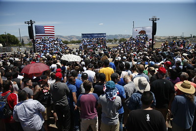 Democratic presidential candidate Bernie Sanders speaks to a crowd of supporters at the Santa Clara County Fairgrounds Wednesday, May 18, 2016, in San Jose, Calif. (Karl Mondon/Bay Area News Group)