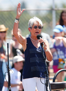 Sixties folk icon, Joan Baez, entertains the crowd at a Bernie Sanders rally at the Santa Clara County Fairgrounds in San Jose, Calif., on Wednesday, May 18, 2016. (Gary Reyes/Bay Area News Group)