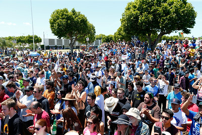 A large crowd listens as Bernie Sanders, Democratic presidential candidate, gives his speech at the Santa Clara County Fairgrounds in San Jose, Calif., on Wednesday, May 18, 2016. (Gary Reyes/Bay Area News Group)