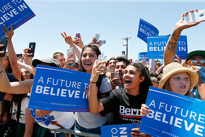 The crowd cheers as Bernie Sanders, Democratic presidential candidate, takes the stage during a rally at the Santa Clara County Fairgrounds in San Jose, Calif., on Wednesday, May 18, 2016. (Gary Reyes/Bay Area News Group)