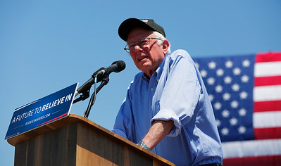 Bernie Sanders, Democratic presidential candidate, addresses the crowd during a rally at the Santa Clara County Fairgrounds in San Jose, Calif., on Wednesday, May 18, 2016. (Gary Reyes/Bay Area News Group)