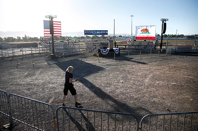 The stage is set for Democratic presidential candidate Bernie Sanders' outdoor afternoon rally at the Santa Clara County Fairgrounds in San Jose, Calif., Wednesday, May 18, 2016. (Karl Mondon/Bay Area News Group)