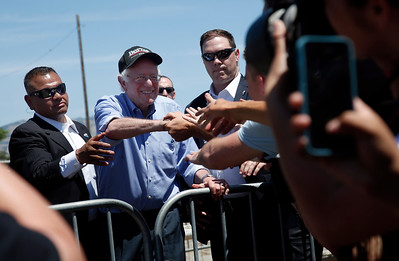 Democratic presidential candidate Bernie Sanders greets supporters after speaking at the Santa Clara County Fairgrounds Wednesday, May 18, 2016, in San Jose, Calif. (Karl Mondon/Bay Area News Group)