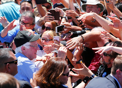 Bernie Sanders, Democratic presidential candidate, is mobbed by the crowd following his speech at a rally at the Santa Clara County Fairgrounds in San Jose, Calif., on Wednesday, May 18, 2016. (Gary Reyes/Bay Area News Group)