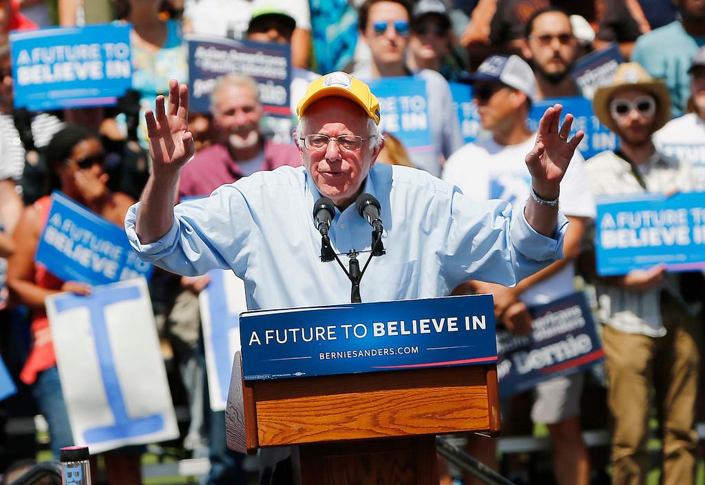 bernie sanders 2016 rally. bernie sanders, democratic presidential candidate, addresses the crowd at a rally sanders 2016