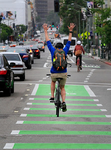 New bike lanes along Telegraph Avenue in Oakland.