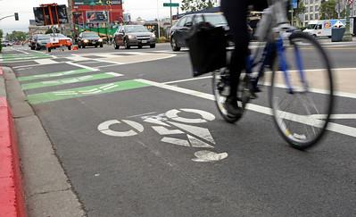 New bike lanes along Telegraph Avenue in Oakland.