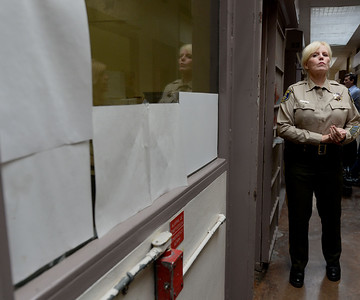 Sheriff Laurie Smith stands in front of the cell where Brock Turner spent most of his 3 month incarceration at the Santa Clara County Main Jail in San Jose, Calif., photographed on Friday, Sept. 2, 2016. Turner was released after serving 3 months of his 6 month sentence for the sexual assault of an unconscious woman in January of 2015. The judge in the case, Aaron Persky, has come under fire for the sentence that many consider to be a slap on the wrist. (Dan Honda/Bay Area News Group)