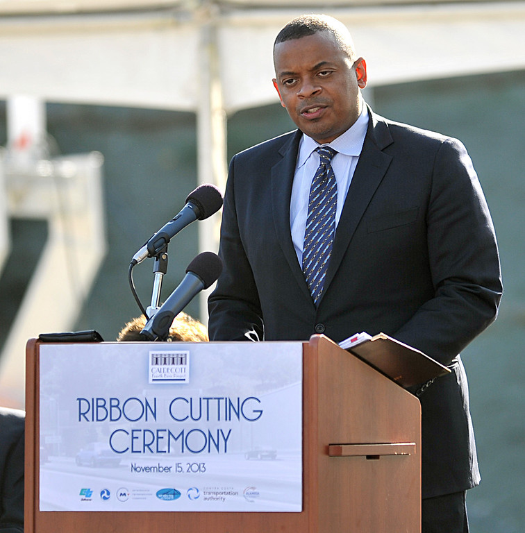 . Anthony Foxx, Secretary U.S. Department of Transportation speaks during the official ribbon cutting of the Caldecott Fourth Bore in Orinda, Calif., on Friday, Nov. 15, 2013. (Dan Rosenstrauch/Bay Area News Group)