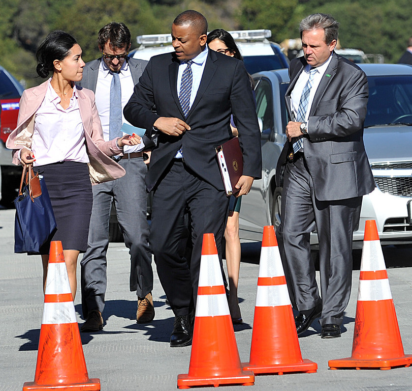 . Anthony Foxx, Secretary U.S. Department of Transportation, center, arrives for the official ribbon cutting for the new Caldecott Fourth Bore in Orinda, Calif., on Friday, Nov. 15, 2013. (Dan Rosenstrauch/Bay Area News Group)