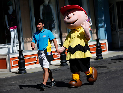 The Charlie Brown character greets visitors during opening day at California's Great America in Santa Clara Calif., on Friday, March 25, 2016. The 100-acre amusement park celebrates it's 40th anniversary this year. (Gary Reyes/Bay Area News Group)
