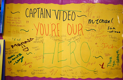 A note of appreciation for store owner Ira Belfer is tacked on the wall at Captain Video in San Mateo, Calif., on Friday, June 17, 2016. Belfer helped a teacher find a VHS player just in time for her to show a video to her class. (Jim Gensheimer/Bay Area News Group)