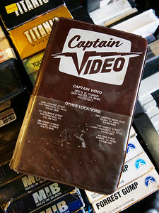 An old VHS case sports the store logo and lists other locations, stores closed long ago, at the last remaining Captain Video in San Mateo, Calif., on Friday, June 17, 2016. (Jim Gensheimer/Bay Area News Group)
