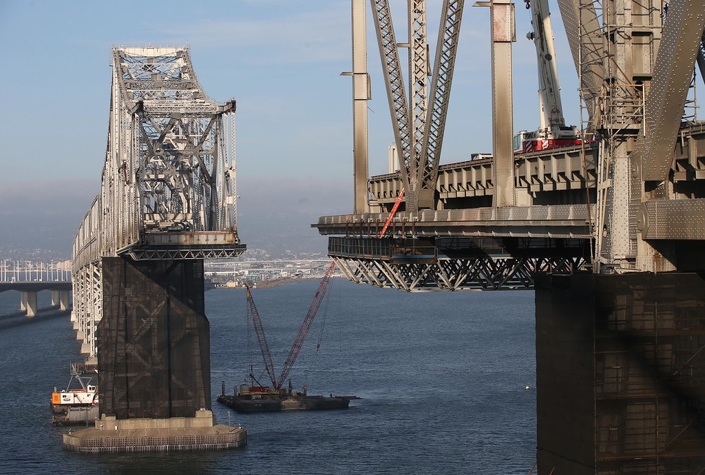 . The approximately 800-foot gap in the eastern span of the old Bay Bridge is seen in this view from the bike and pedestrian path near Yerba Buena Island in San Francisco, Calif., on Thursday, Sept. 4, 2014.  (Jane Tyska/Bay Area News Group)
