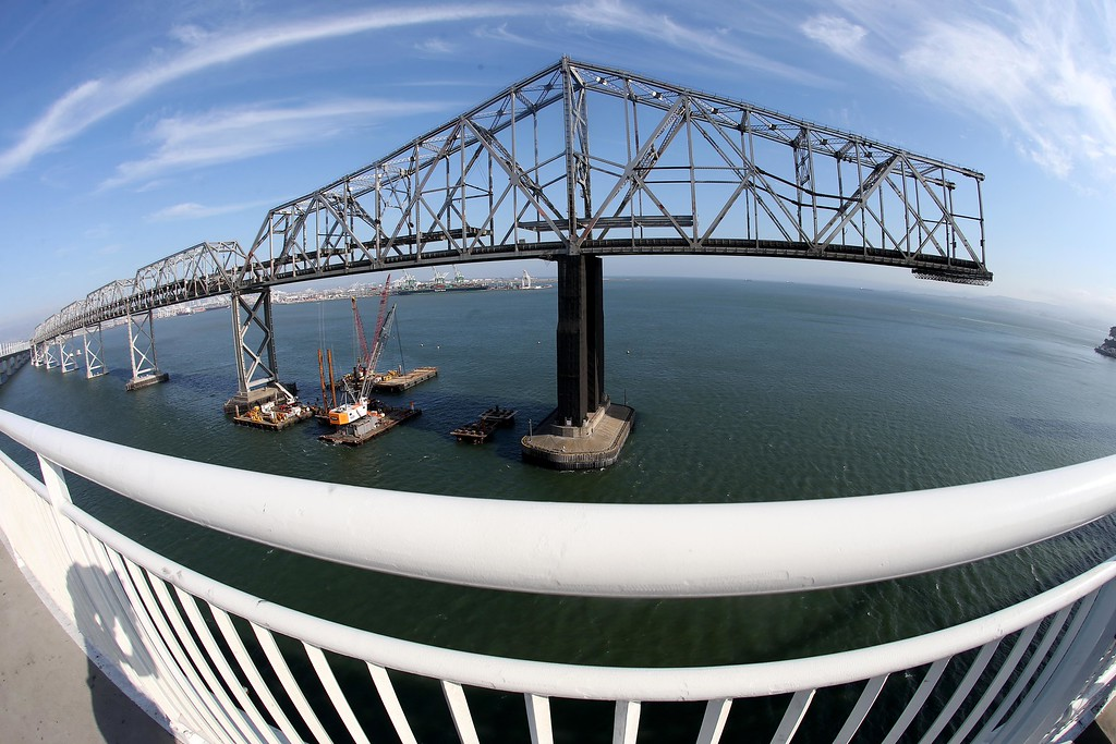 . A view of a portion of the approximately 800-foot gap of the old eastern span of the Bay Bridge is seen from the bike and pedestrian path on the new Bay Bridge near Yerba Buena Island in San Francisco, Calif., on Thursday, Sept. 4, 2014. Photo made with an extreme wide-angle lens. (Jane Tyska/Bay Area News Group)