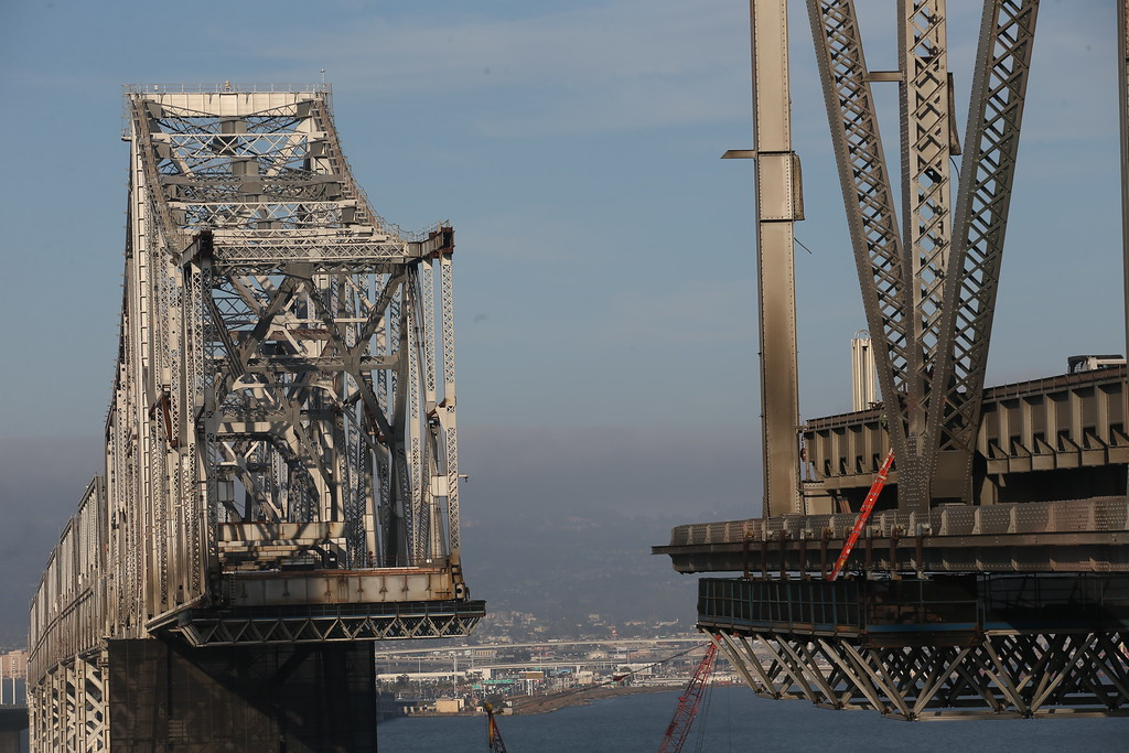 . A view of the approximately 800-foot gap of the old eastern  span of the Bay Bridge is seen rom the bike and pedestrian path on the new Bay Bridge near Yerba Buena Island in San Francisco, Calif., on Thursday, Sept. 4, 2014. (Jane Tyska/Bay Area News Group)