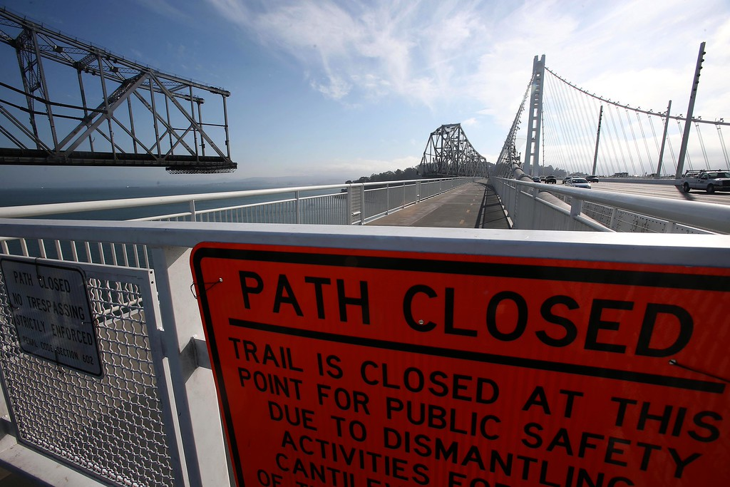 . The closed portion of the bike and pedestrian path on the new Bay Bridge is seen near Yerba Buena Island in San Francisco, Calif., on Thursday, Sept. 4, 2014. The portion of the trail closest to YBI is only open on weekends because of ongoing demolition of the old eastern span. (Jane Tyska/Bay Area News Group)