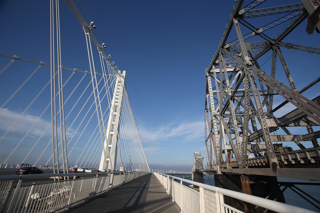 . A view of the new, left, and old eastern spans of the Bay Bridge is seen from the bike and pedestrian path on the new Bay Bridge near Yerba Buena Island in San Francisco, Calif., on Thursday, Sept. 4, 2014.  (Jane Tyska/Bay Area News Group)