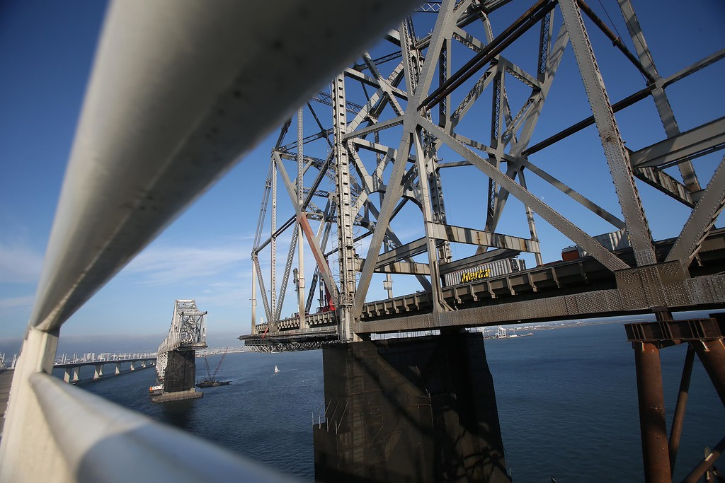 . A view of the approximately 800-foot gap of the old eastern  span of the Bay Bridge from the bike and pedestrian path is seen near Yerba Buena Island in San Francisco, Calif., on Thursday, Sept. 4, 2014.  (Jane Tyska/Bay Area News Group)