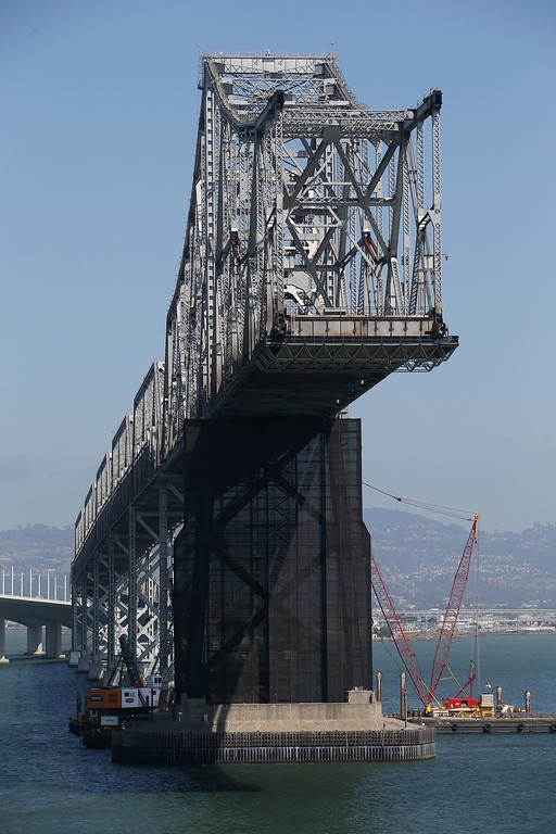 . A view of the approximately of the old eastern  span of the Bay Bridge is seen from the bike and pedestrian path near Yerba Buena Island in San Francisco, Calif., on Thursday, Sept. 4, 2014. (Jane Tyska/Bay Area News Group)